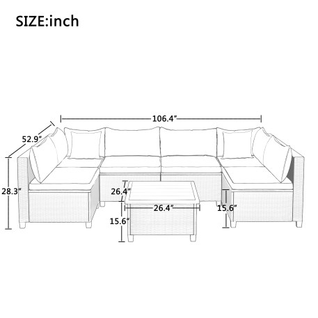 U-Shape Sectional Rattan Wicker Patio Set With Cushions And Accent Pillows