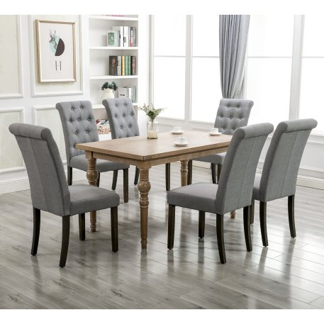 Aristocratic Style Dining Chair Noble And Elegant Solid Wood Tufted Dining Chair Set Of 2