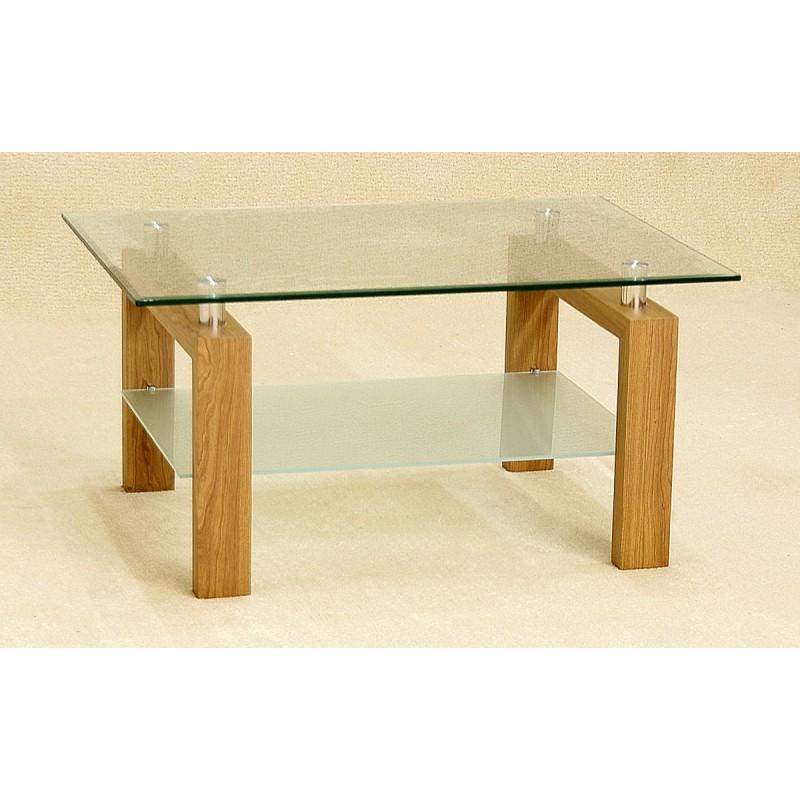 adina clear glass two shelf oak coffee table