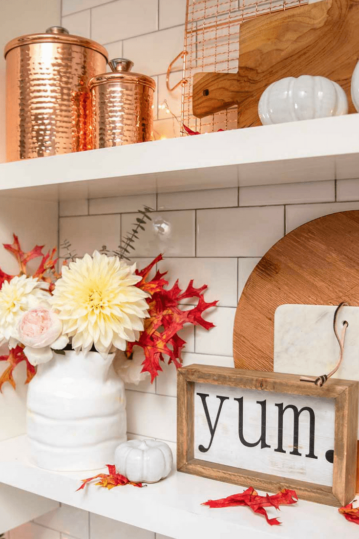 fall kitchen decor solid surface countertops simple decorating ideas in the modern glam shelves styled for