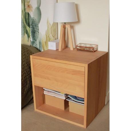 table de chevet cube de rangement avec tiroir en bois de hetre massif huile