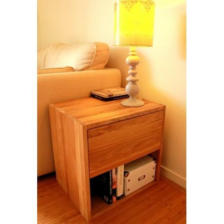 table de chevet cube de rangement avec tiroir en bois de chene massif huile