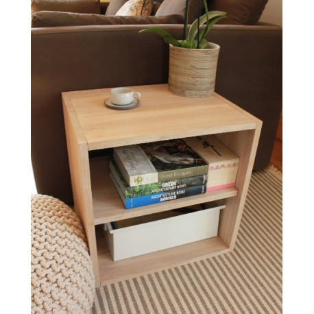 cube de rangement avec etagere en bois de chene massif blanchi