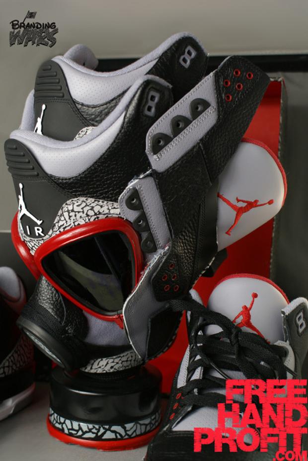 BlackCement3s071 Air Jordan 3 Black / Cement Gas Mask by Freehand Profit