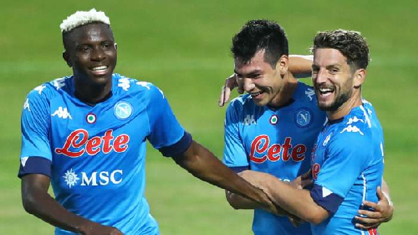 Nigerian striker, Victor Osimhen with mates
