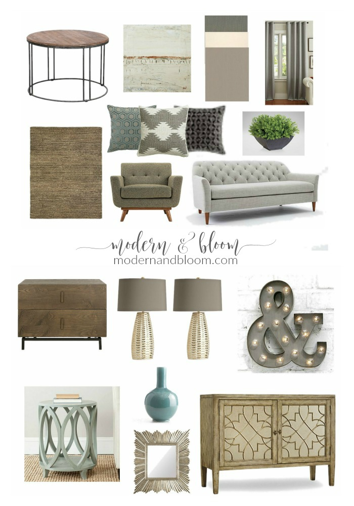 Rustic Amp Neutral Living Room Mood Board