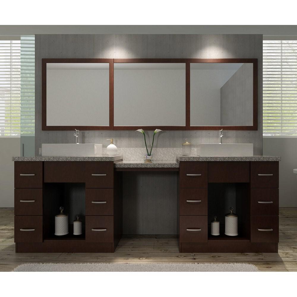 ariel roosevelt 97 double sink vanity set with tiger skin white granite countertop walnut