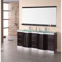 "Design Element Jade 72"" Double Sink Vanity Set w/ Tempered ..."