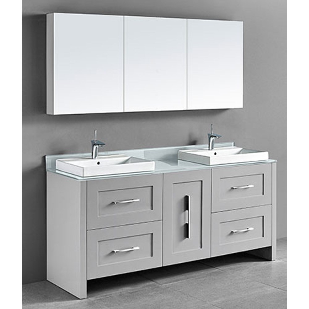 Madeli Retro 72 Double Bathroom Vanity For Glass Counter And Porcelain Basin Whisper Grey Free Shipping Modern Bathroom