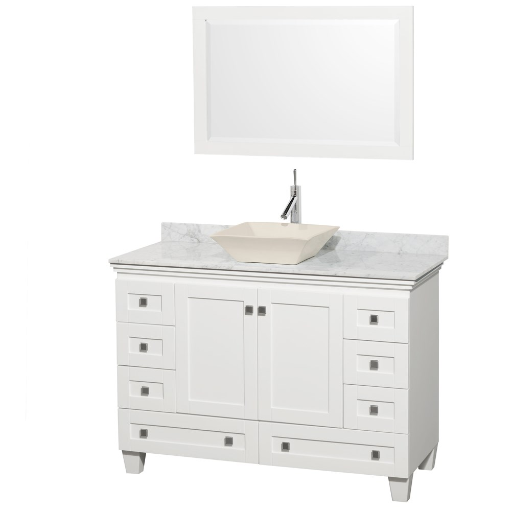 Acclaim 48 Single Bathroom Vanity For Vessel Sink White Free Shipping Modern Bathroom