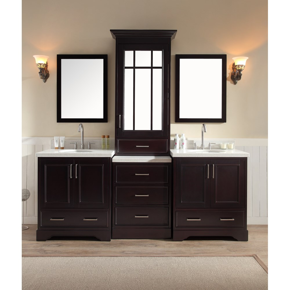 Ariel Stafford 85 Double Sink Vanity Set with White