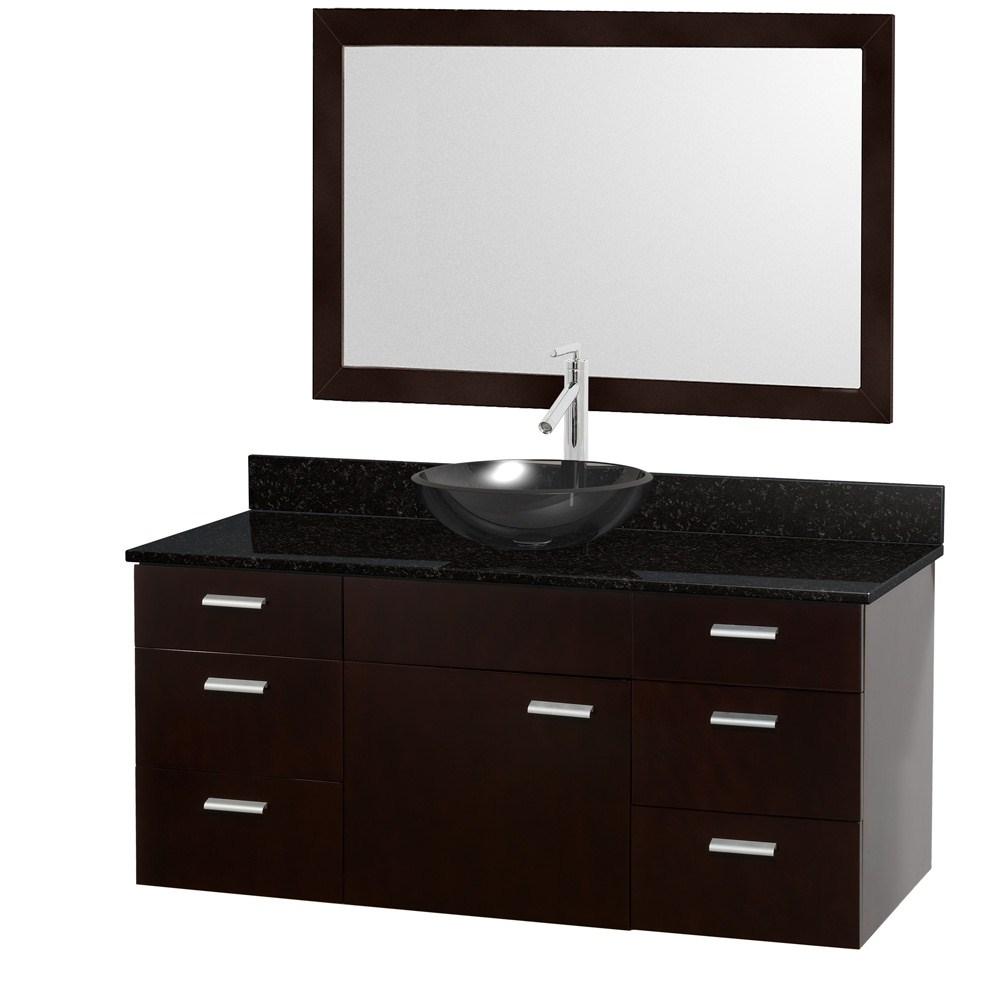 Encore 52 Bathroom Vanity Set Espresso With Black Granite Countertop Free Shipping Modern Bathroom
