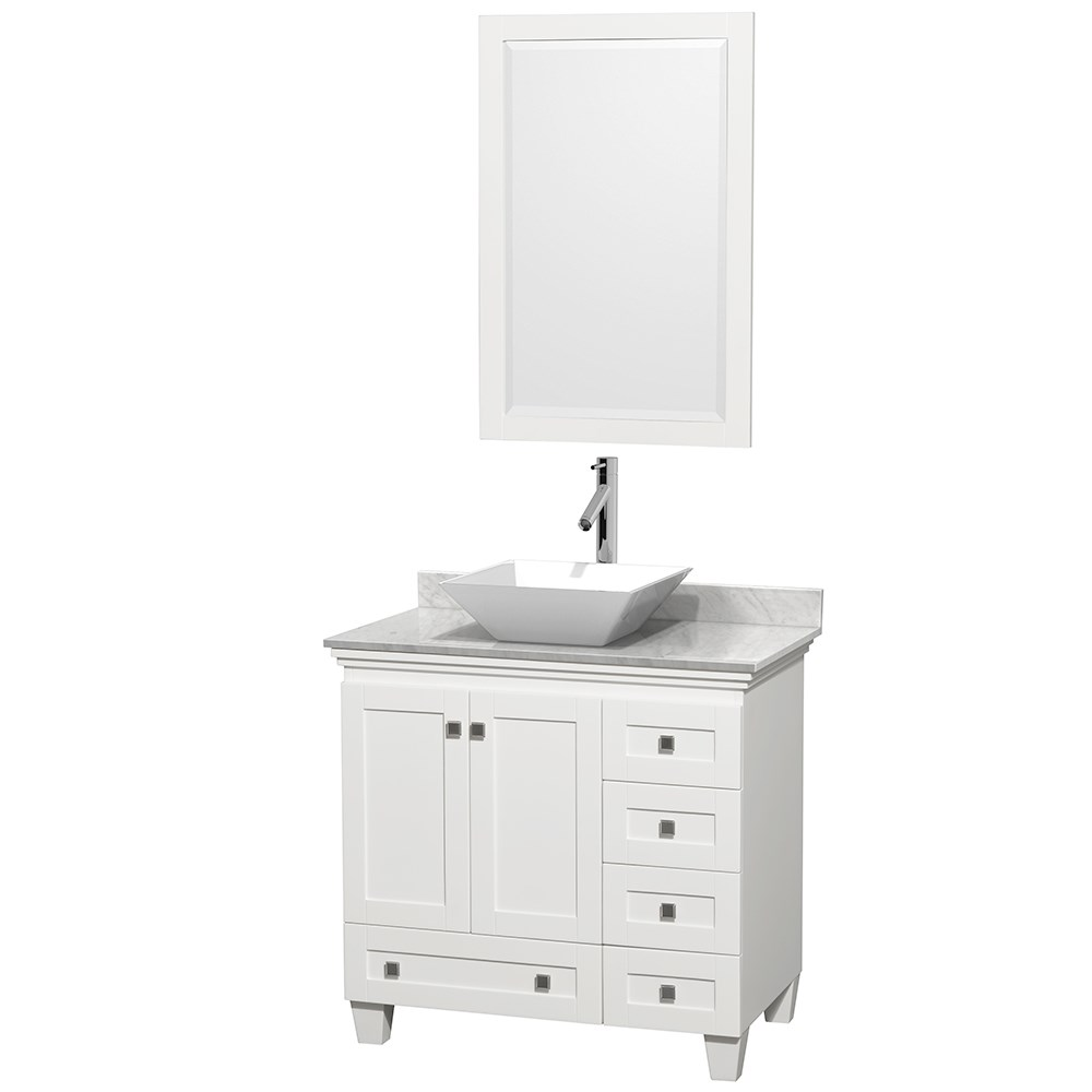 Acclaim 36 Single Bathroom Vanity For Vessel Sink White Free Shipping Modern Bathroom