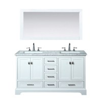 "Stufurhome Newport White 60"" Double Sink Bathroom Vanity ..."