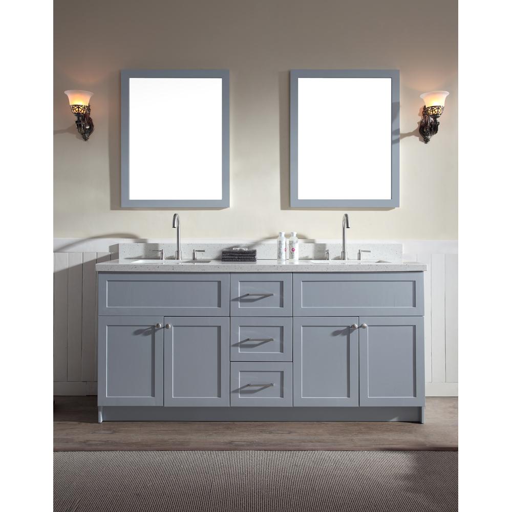 Ariel Hamlet 73 Double Sink Vanity Set with White Quartz