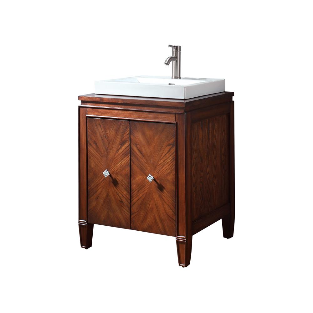 Avanity Brentwood 25 Bathroom Vanity with Semirecessed sink  New Walnut  Free Shipping