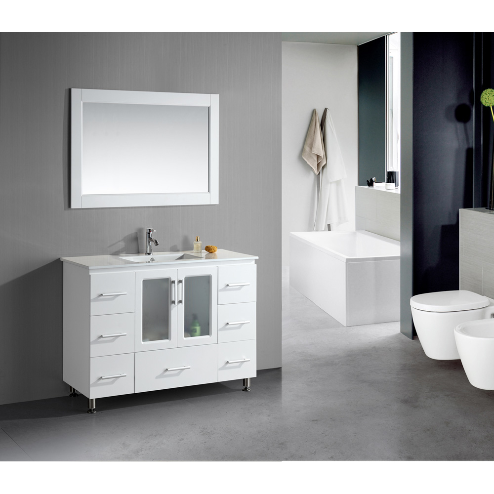 Design Element Stanton 48 Single Sink Vanity Set With Drop In Sink White Free Shipping