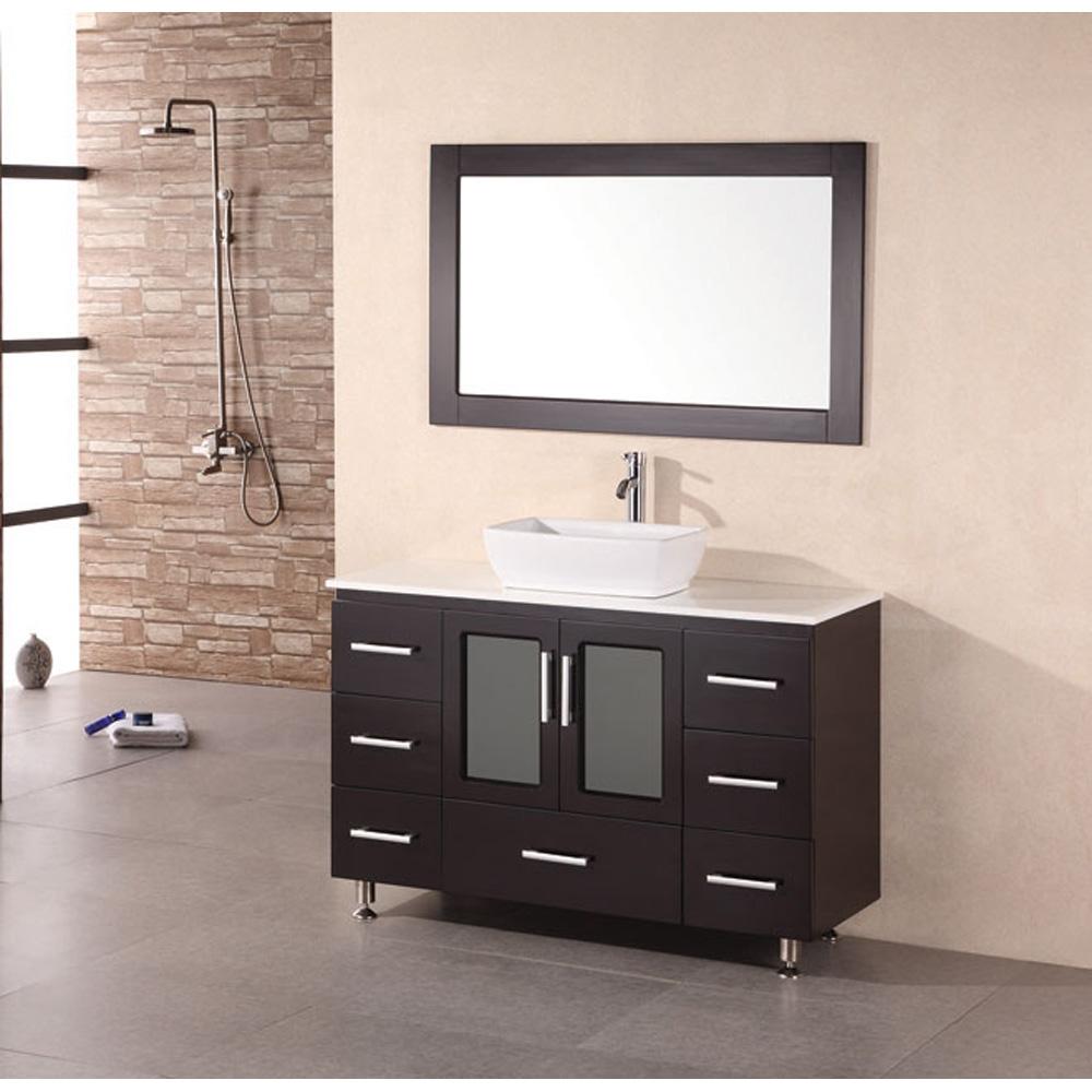"""Design Element Milan 48"""" Bathroom Vanity with Vessel Sink ..."""