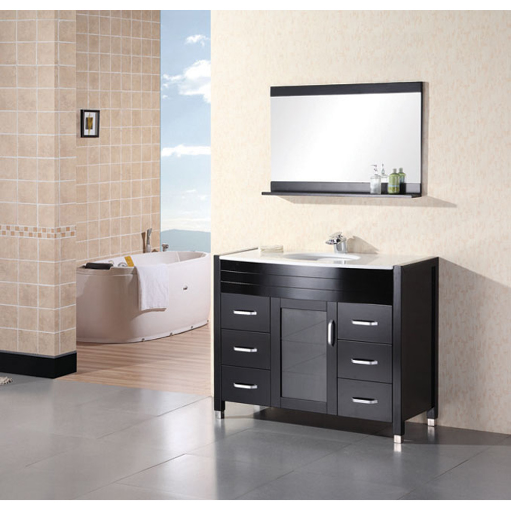 Design Element Waterfall 48 Bathroom Vanity with White Stone Counter  Espresso  Free Shipping