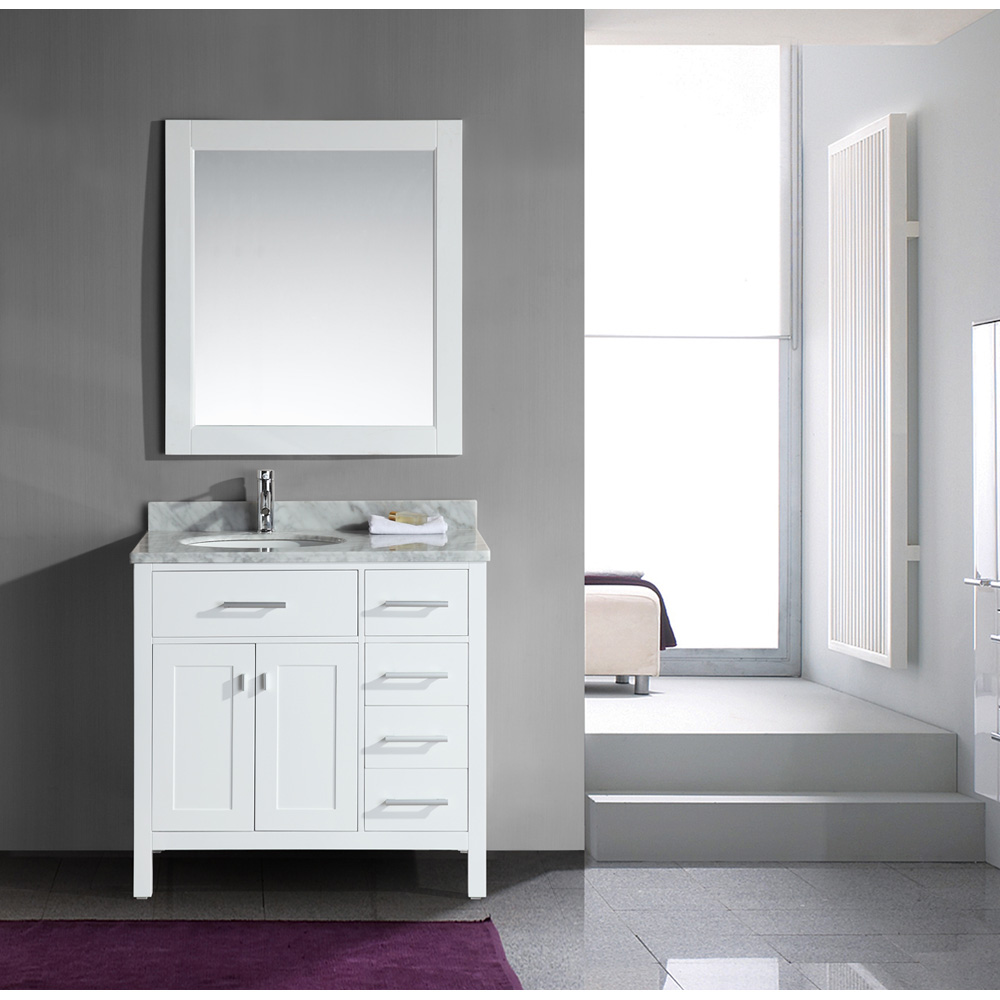 Design Element London 36 Single Vanity with Drawers on the Right White Carrera Countertop