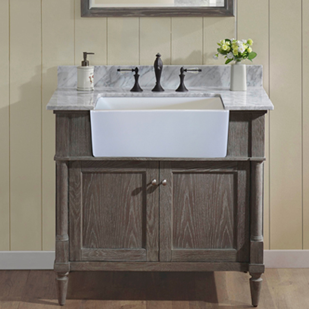 Fairmont Designs Rustic Chic 36 Farmhouse Vanity  Silvered Oak  Free Shipping  Modern Bathroom