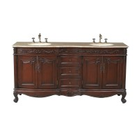 "Stufurhome 72"" Saturn Double Sink Vanity with Travertine ..."