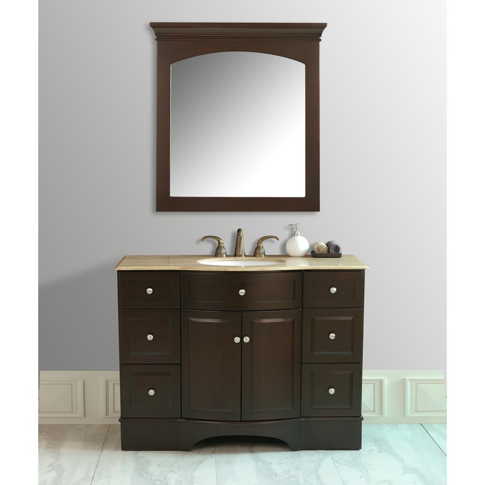 Stufurhome 48 Lotus Single Sink Vanity with Travertine Marble Top and Mirror  Dark Brown
