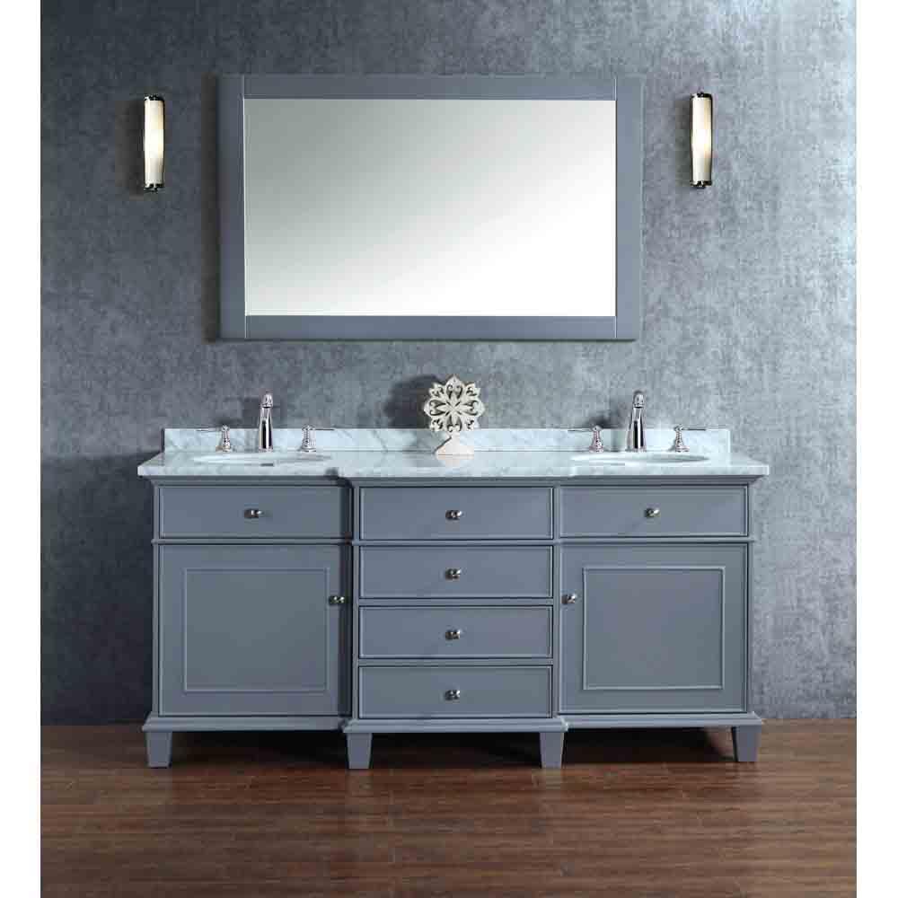 Stufurhome Cadence Grey 72 Double Sink Bathroom Vanity