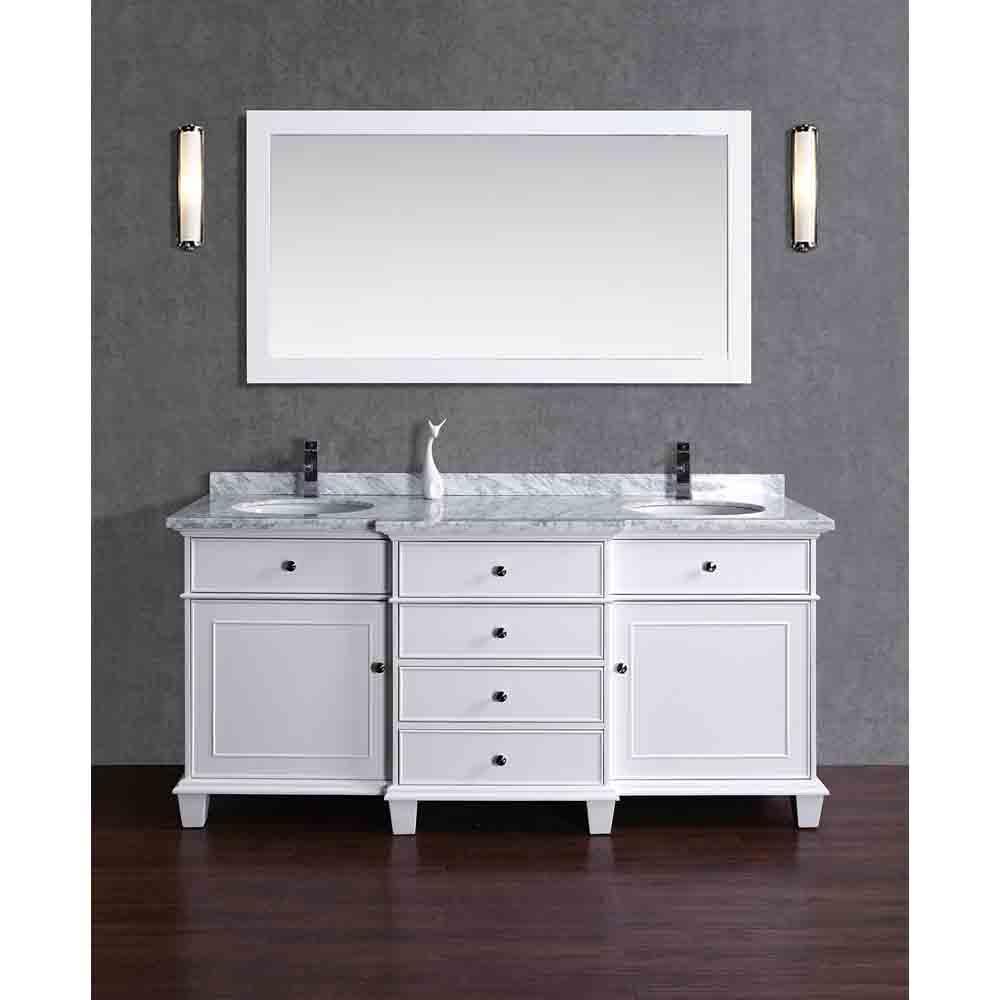 Stufurhome Cadence White 60 Double Sink Bathroom Vanity With Mirror White Free Shipping Modern Bathroom