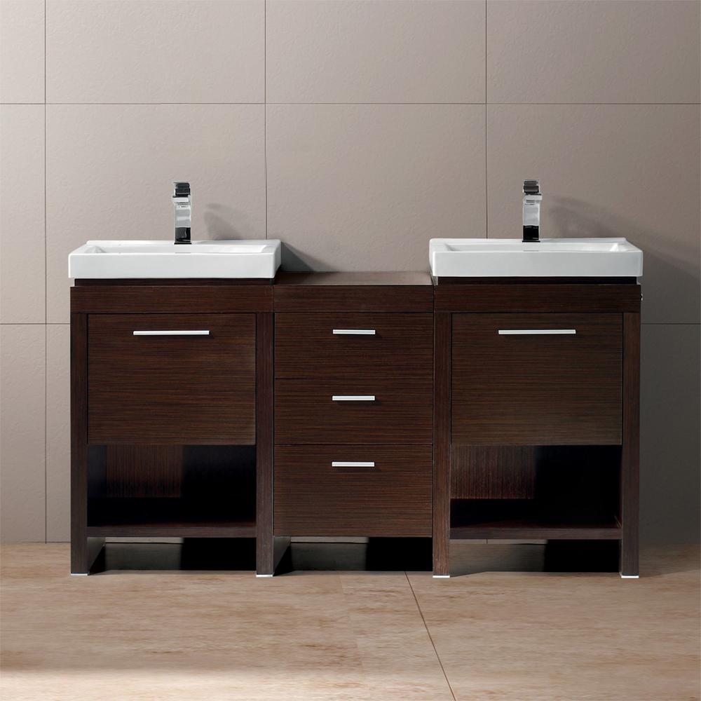 Vigo 59 Adonia Double Bathroom Vanity  Wenge  Free