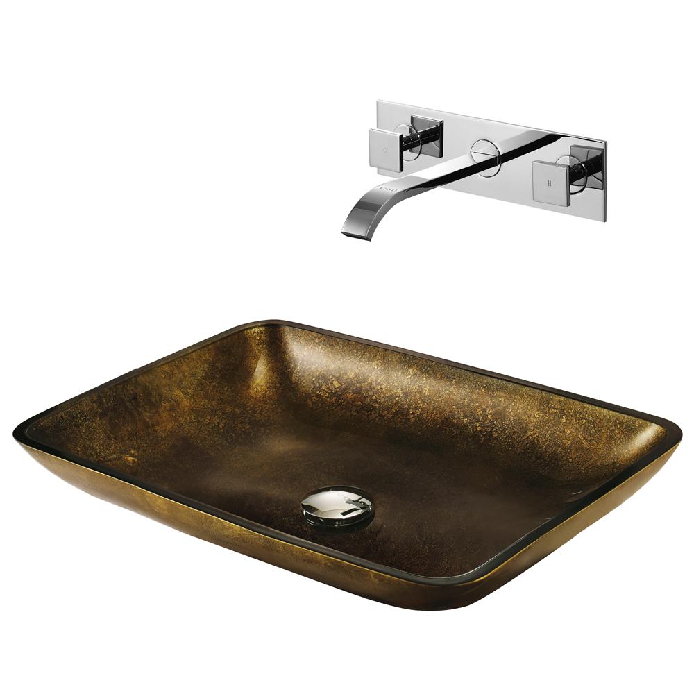 Vigo Rectangular Copper Glass Vessel Sink And Wall Mount