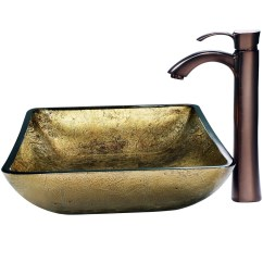 Vigo Kitchen Sinks Resurfacing Cabinets Rectangular Copper Glass Vessel Sink And Faucet Set ...