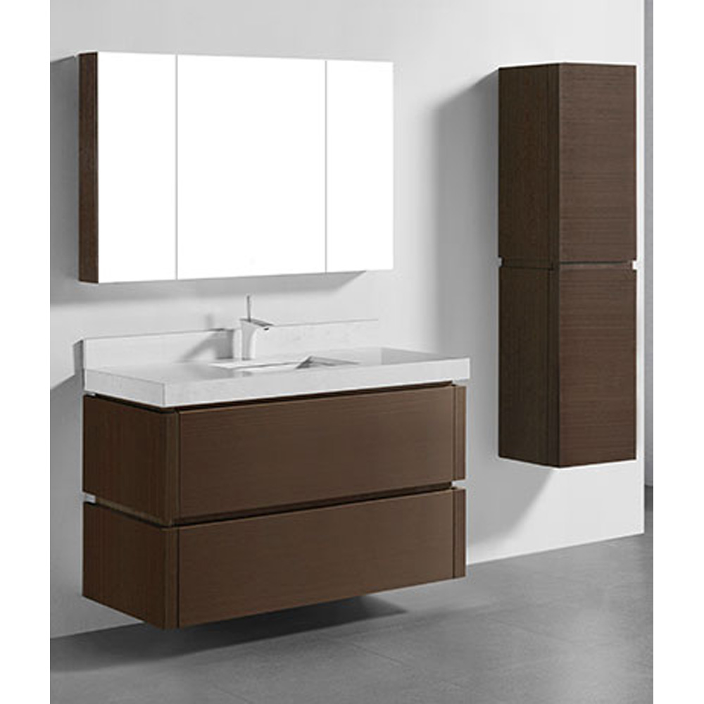 Madeli Cube 48 Single WallMounted Bathroom Vanity for Quartzstone Top  Walnut  Free Shipping