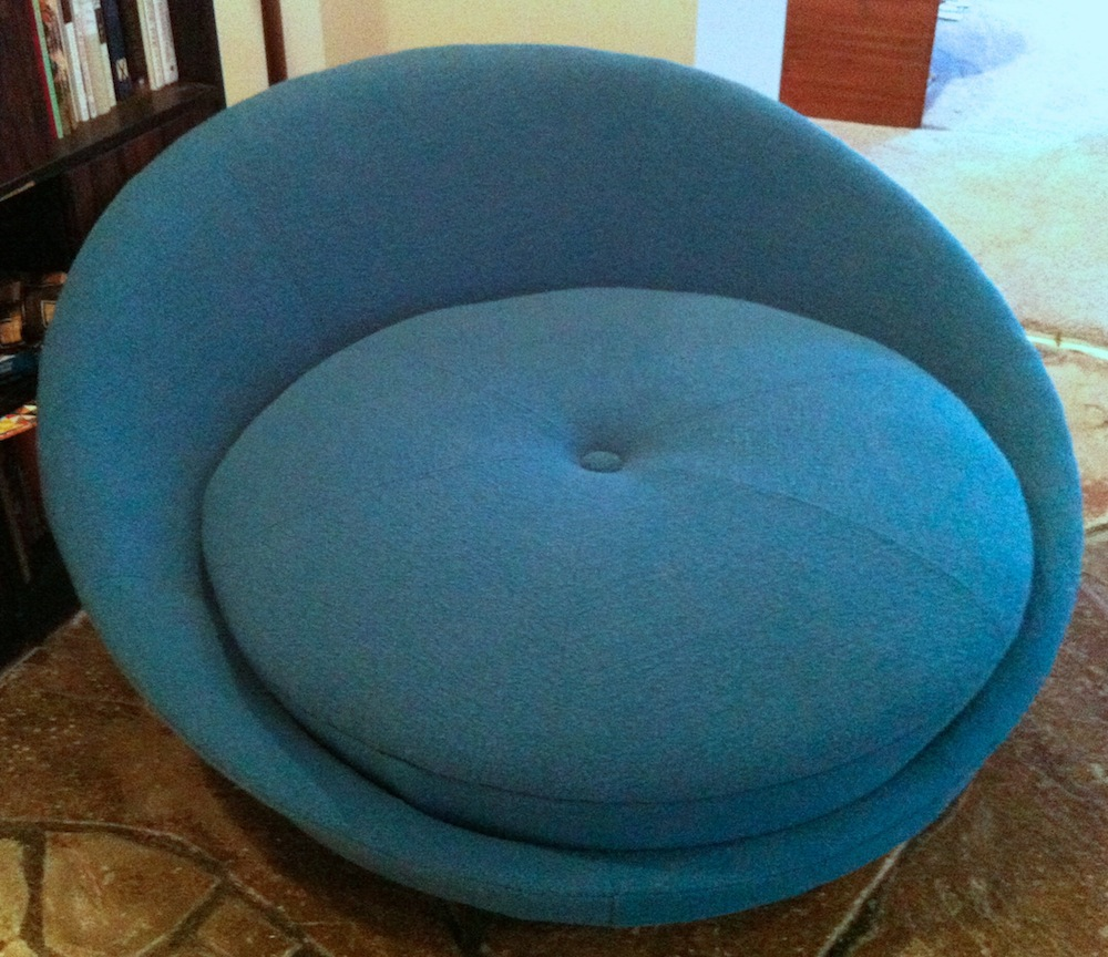 turquoise lounge chair how to recover dining room chairs big round modern restoration the owner chose knoll classic boucle fabric in aegean a beautiful deep
