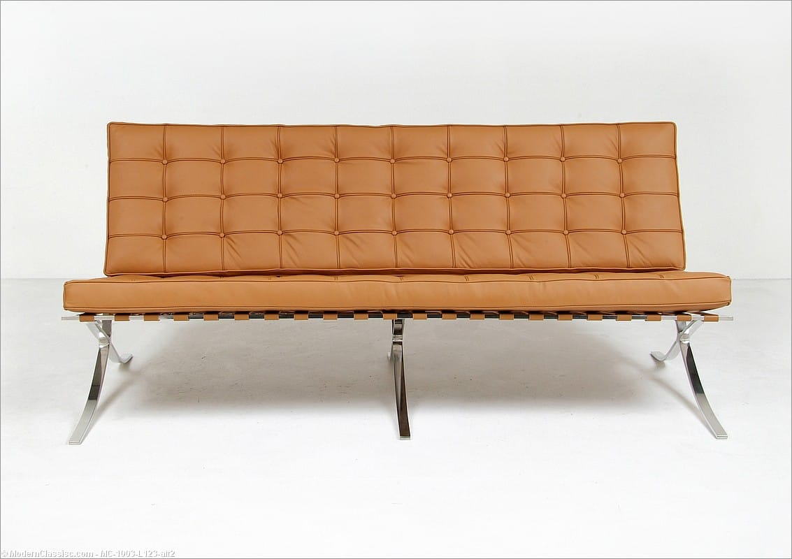barcelona chair style couch rectangular leg caps sofa modernclassics