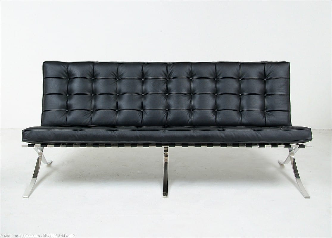 barcelona sofa sectional with recliner and chaise lounge mies designed by van der rohe for knoll at