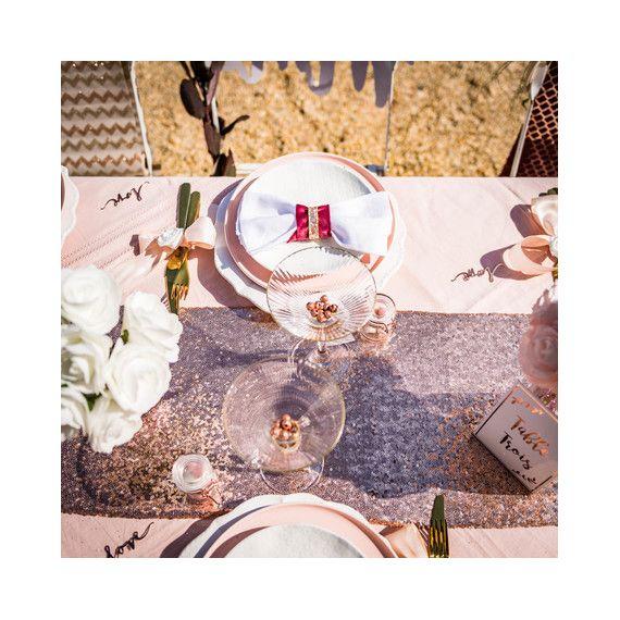 chemin de table sequins rose gold modern confetti