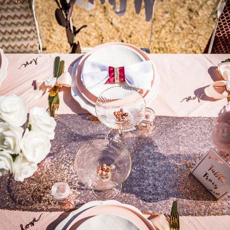 chemin de table sequins rose gold