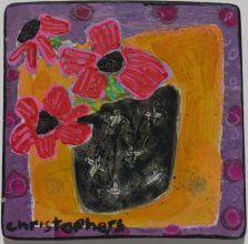 Julian Christophers, Red Flowers, Black Vase