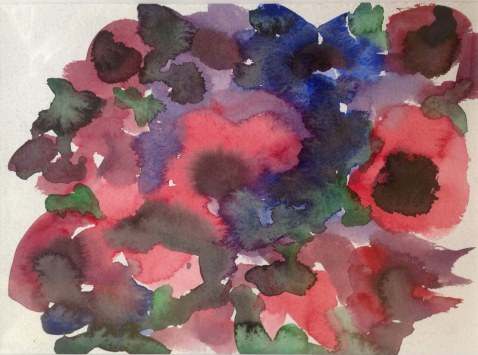 Angela Lyle, Red Anemonies with leaves