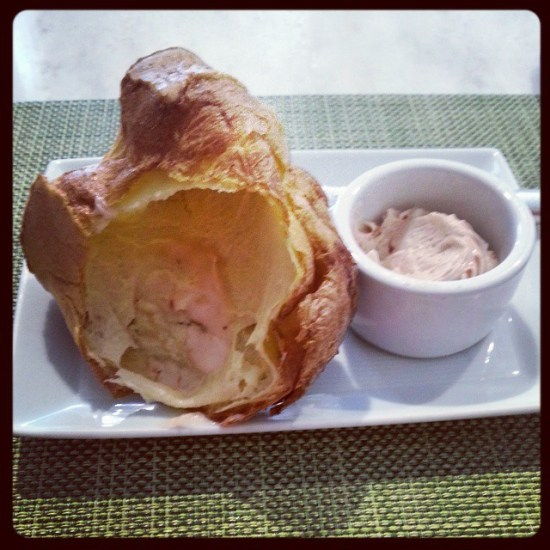 A popover with Strawberry Butter at Neiman Marcus
