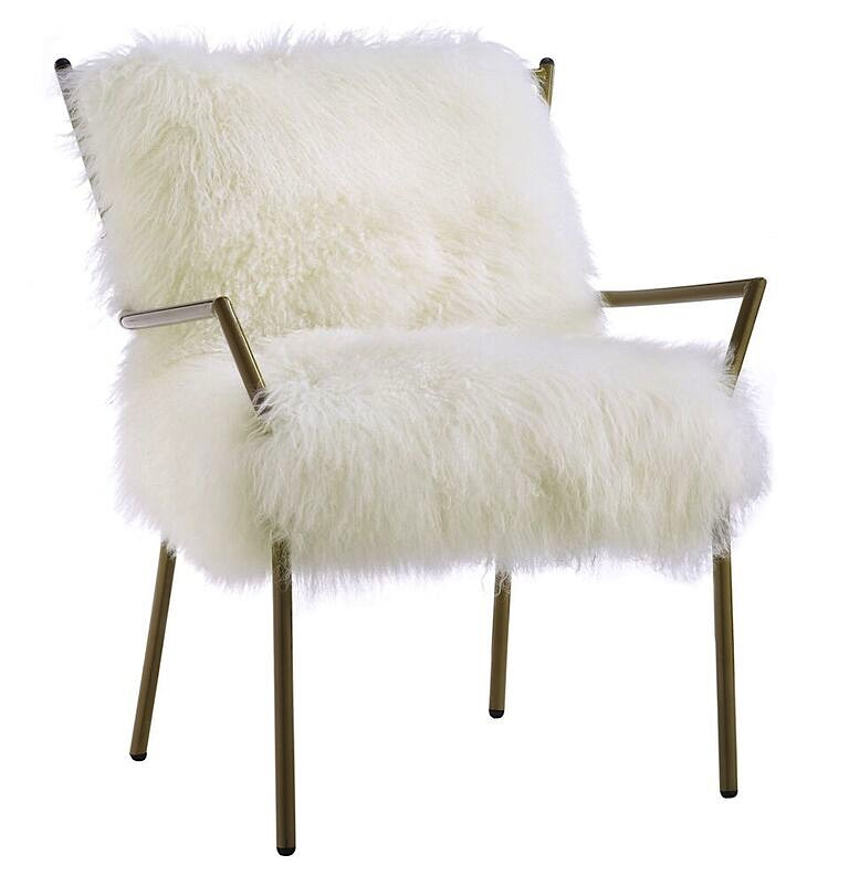 vanity chair white fur good place to buy office chairs lena sheepskin | rose gold modern digs furniture
