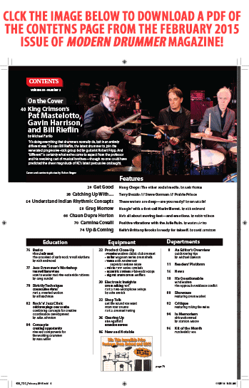 February 2015 Issue of Modern Drummer featuring King Crimson's Pat