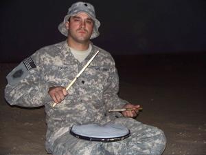 Troy Yocum on a drum pad