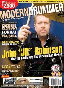 "John ""Jr"" Robinson on the April 2011 cover of Modern Drummer Magazine"