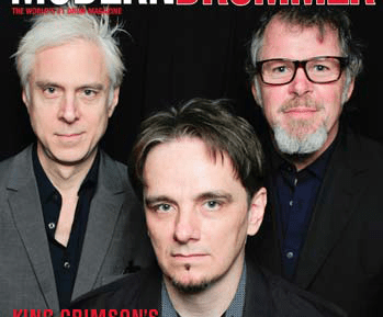 February 2015 Issue of Modern Drummer featuring King Crimson's Pat Mastelotto, Gavin Harrison, and Bill Rieflin