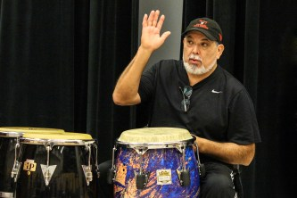 Latin-Jazz Great Poncho Sanchez Conducts Clinic for University of Nebraska-Lincoln Students