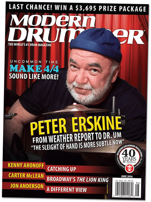 Peter Erskine on the cover of Modern Drummer magazine June 2016