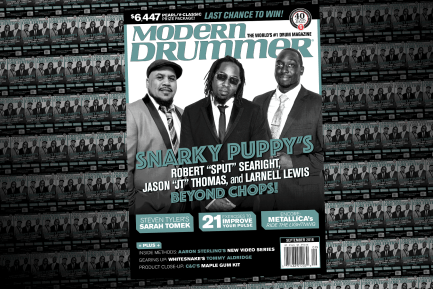 "September 2016 Issue of Modern Drummer magazine featuring Snarky Puppy's Robert ""Sput"" Searight, Larnell Lewis, and Jason ""JT"" Thomas"