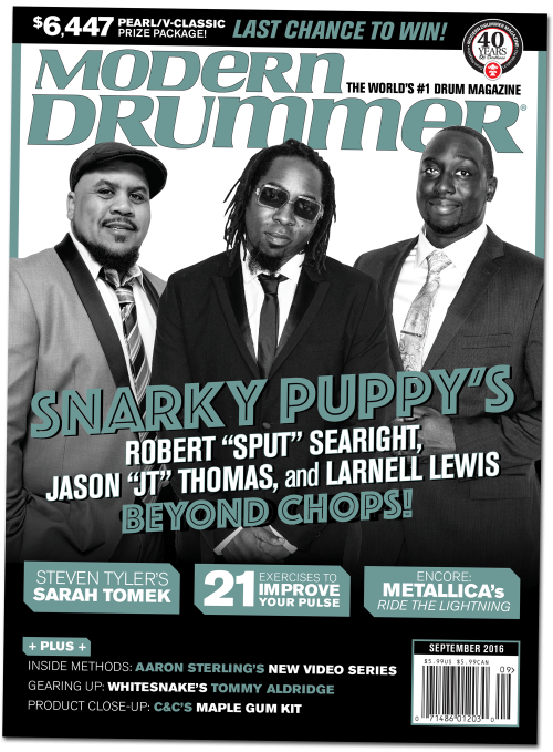 September 2016 Issue of Modern Drummer magazine featuring Snarky Puppy's Robert Sput Searight, Larnell Lewis, and Jason JT Thomas